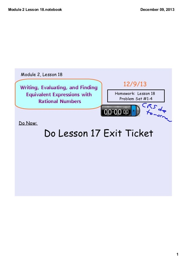 Module 2 Lesson 18.notebook  December 09, 2013  Module 2, Lesson 18  Writing, Evaluating, and Finding Equivalent Expressio...