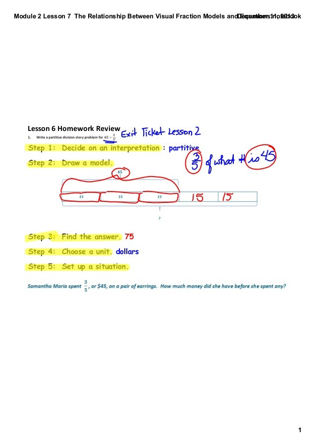 Module 2 Lesson 7  The Relationship Between Visual Fraction Models and Equations.notebook December 11, 2013  Lesson 6 Home...