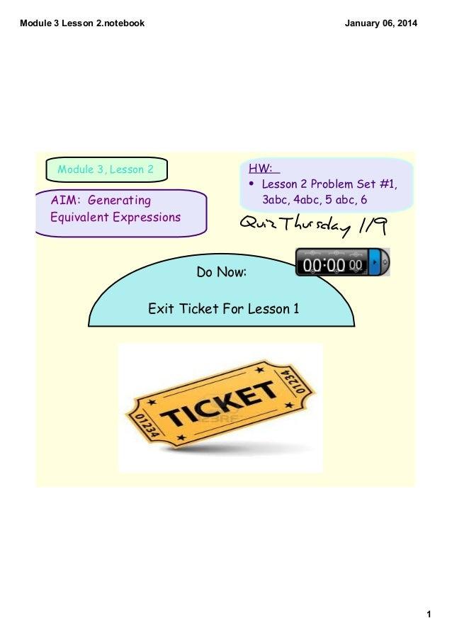 Module3Lesson2.notebook  January06,2014  HW: • Lesson 2 Problem Set #1, 3abc, 4abc, 5 abc, 6  Module 3, Lesson 2  AIM...