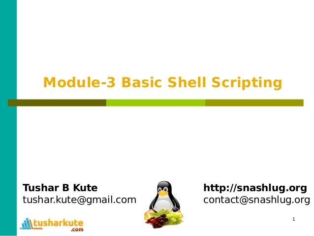 1 Module-3 Basic Shell Scripting Tushar B Kute tushar.kute@gmail.com http://snashlug.org contact@snashlug.org