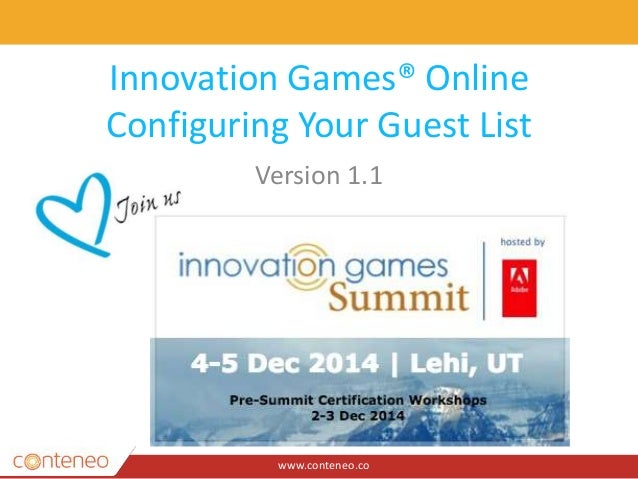 innovation games online configuring guest lists