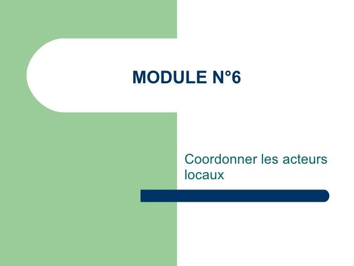 MODULE N°6 Coordonner les acteurs locaux