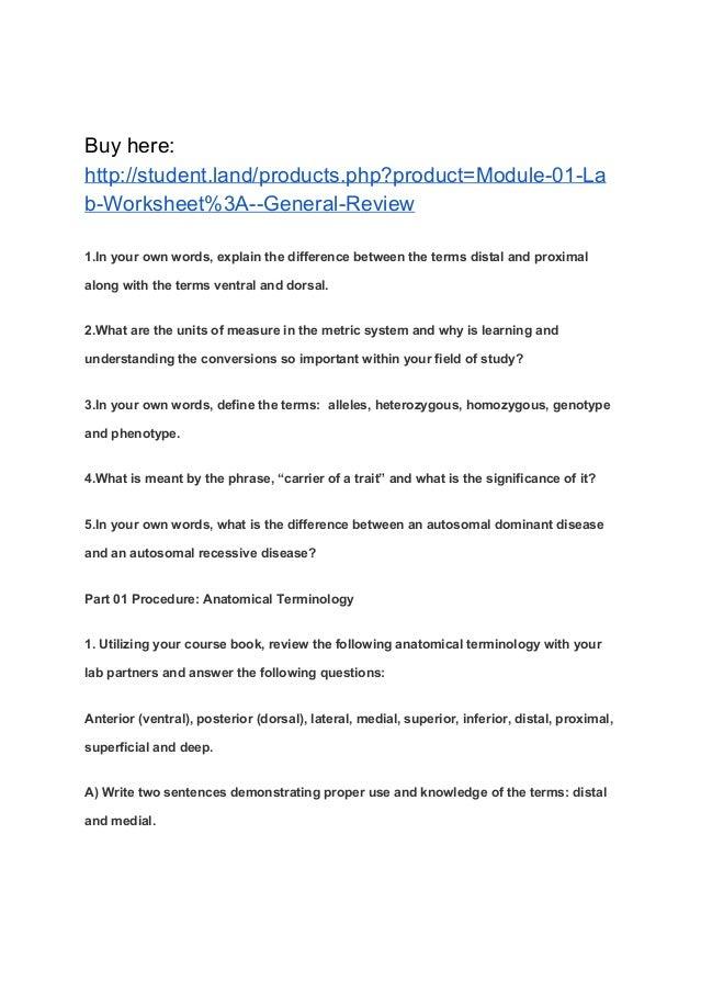 Module 01 Lab Worksheet General Review
