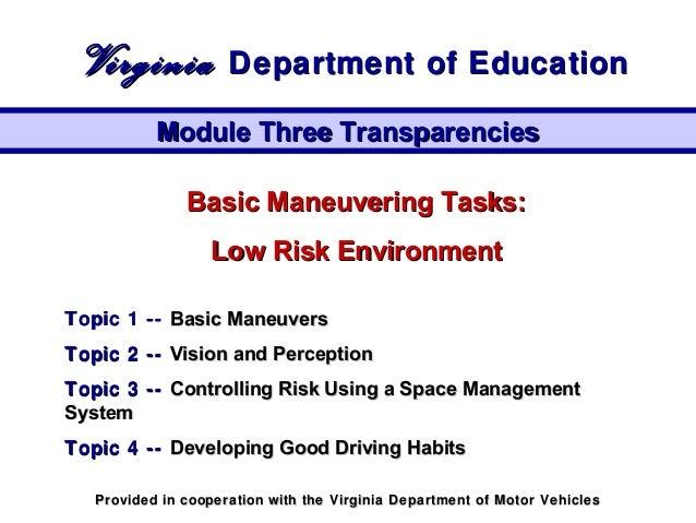 Basic Maneuvering Tasks:Basic Maneuvering Tasks: Low Risk EnvironmentLow Risk Environment Topic 1 --Topic 1 -- Basic Maneu...