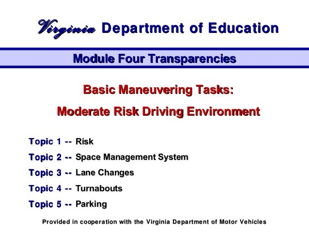 Basic Maneuvering Tasks:Basic Maneuvering Tasks: Moderate Risk Driving EnvironmentModerate Risk Driving Environment Topic ...