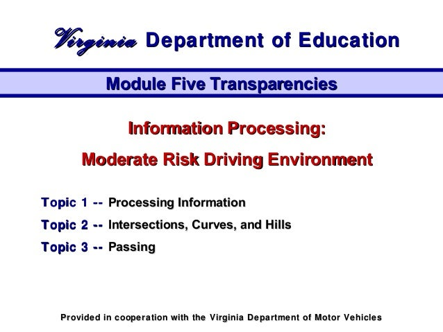 Information Processing:Information Processing: Moderate Risk Driving EnvironmentModerate Risk Driving Environment Topic 1 ...