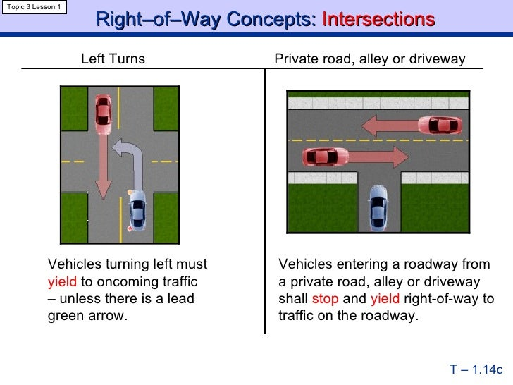 drivers turning left must yield to
