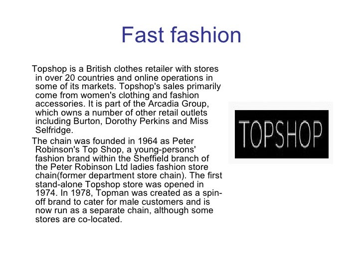topshop supply chain model