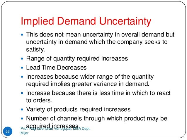 implied demand uncertainty To achieve strategic fit companies need to bring consistency between implied demand uncertainty and supply chain responsiveness for a high implied demand uncertainty we need a responsive supply chain and for a low implied demand uncertainty we need an efficient supply chain.