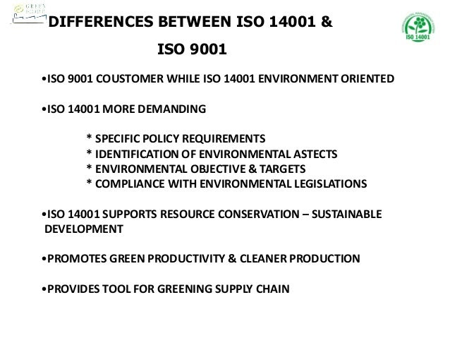 iso 9001 and 14001 difference
