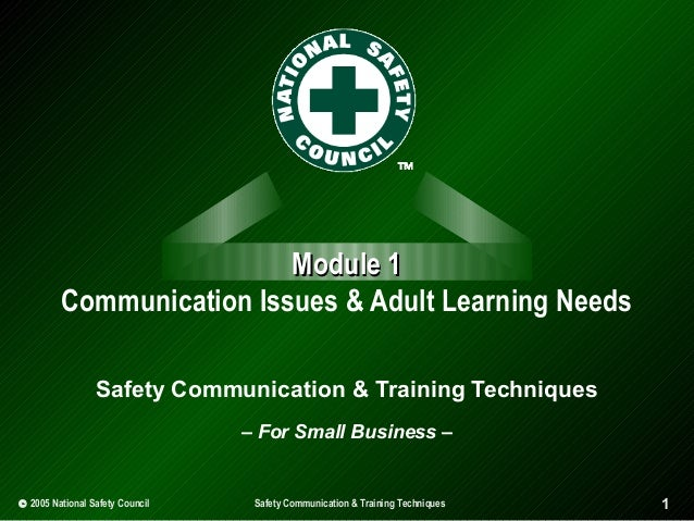 Module 1 Communication Issues & Adult Learning Needs Safety Communication & Training Techniques – For Small Business –  © ...