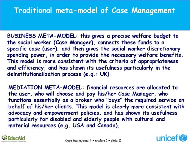 Traditional meta-model of Case ManagementBUSINESS META-MODEL: this gives a precise welfare budget tothe social worker (Cas...