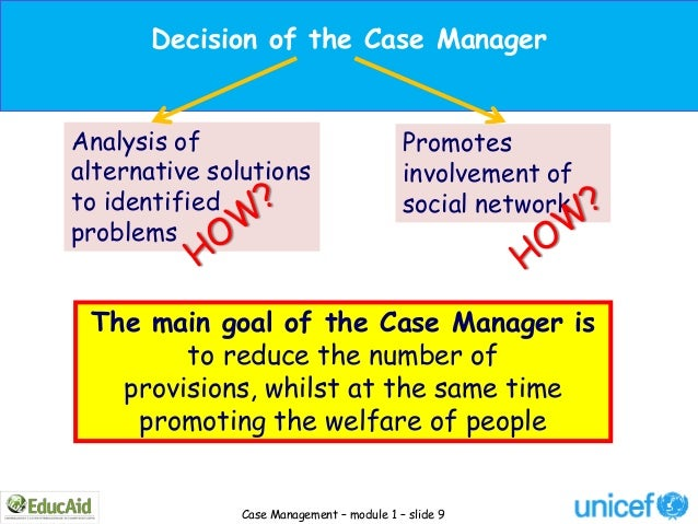 Decision of the Case ManagerAnalysis of                               Promotesalternative solutions                     in...