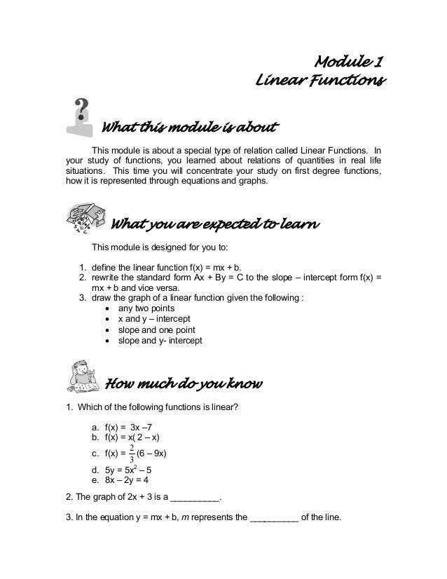 Module 1 Linear Functions