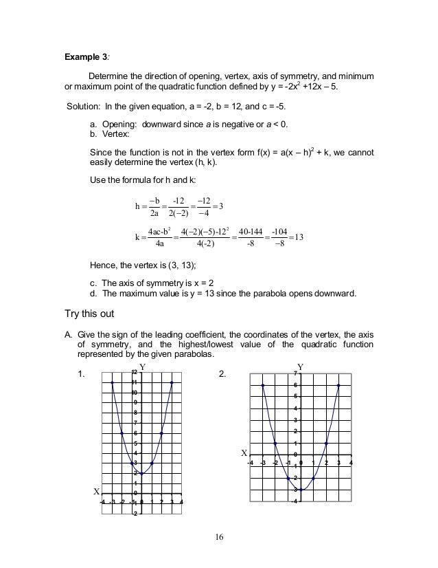Module 1 Quadratic Functions