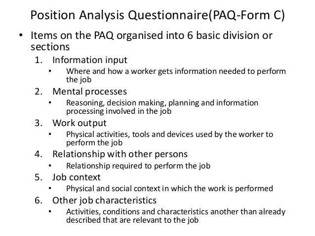 Position Analysis Questionnaire Example Module 1 Rs