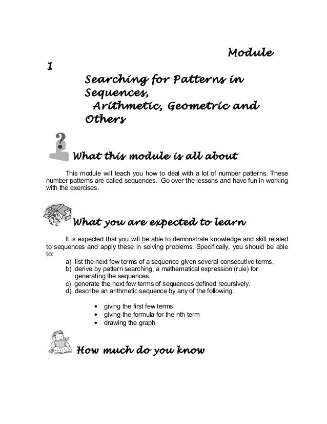 Grade 10 Math Module 1 searching for patterns, sequence and series
