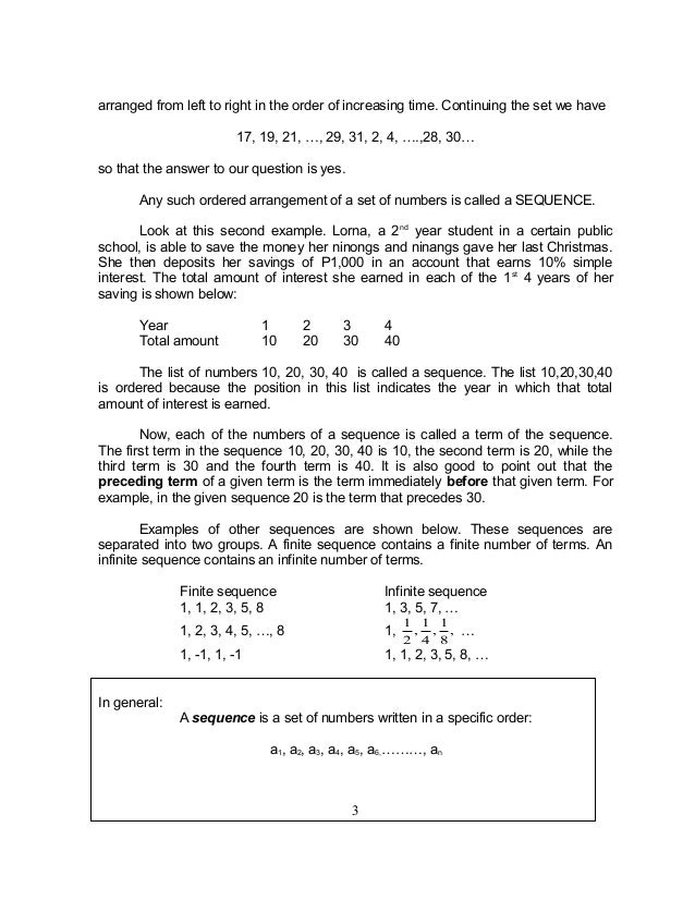 Grade 10 Math Module 1 searching for patterns sequence and series – Sequences and Series Worksheets
