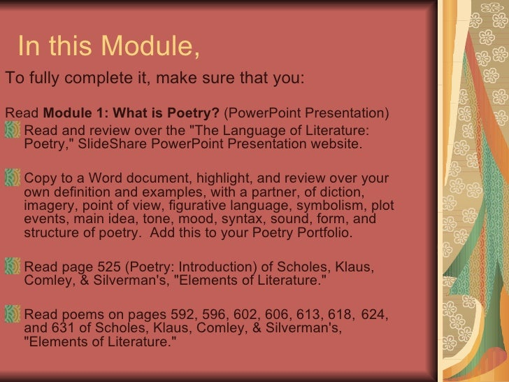 Module 1 What Is Poetry