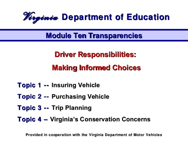 Driver Responsibilities:Driver Responsibilities: Making Informed ChoicesMaking Informed Choices Topic 1 --Topic 1 -- Insur...