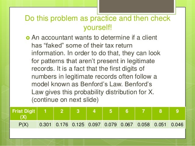 """Do this problem as practice and then check yourself!  An accountant wants to determine if a client has """"faked"""" some of th..."""