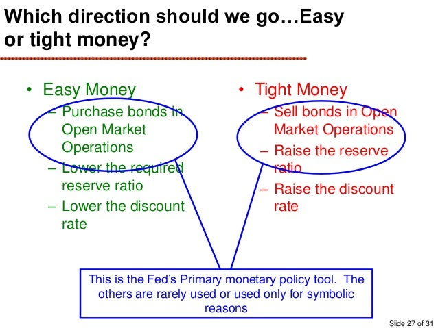 tighter monetary fiscal policy The term monetary policy refers to what the federal reserve, the nation's  central bank, does to influence the amount of money and credit in the us  economy.