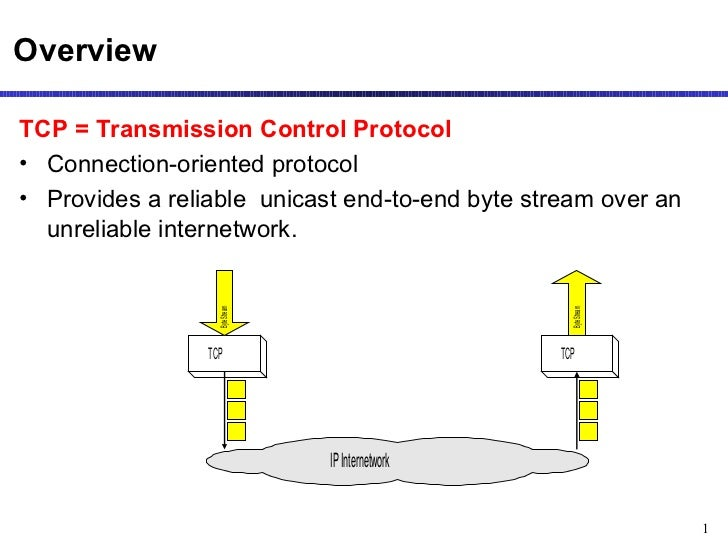 OverviewTCP = Transmission Control Protocol• Connection-oriented protocol• Provides a reliable unicast end-to-end byte str...