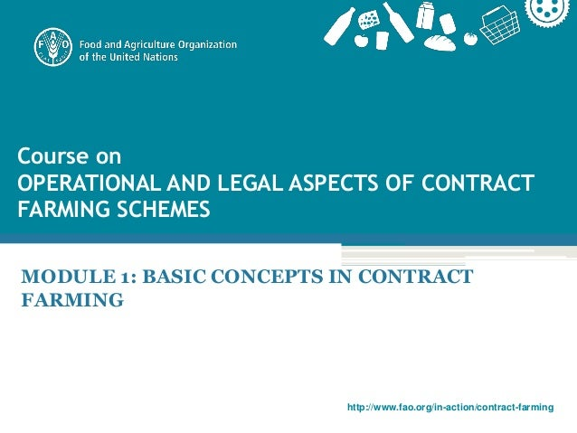 Module 1: Basic concepts in contract farming