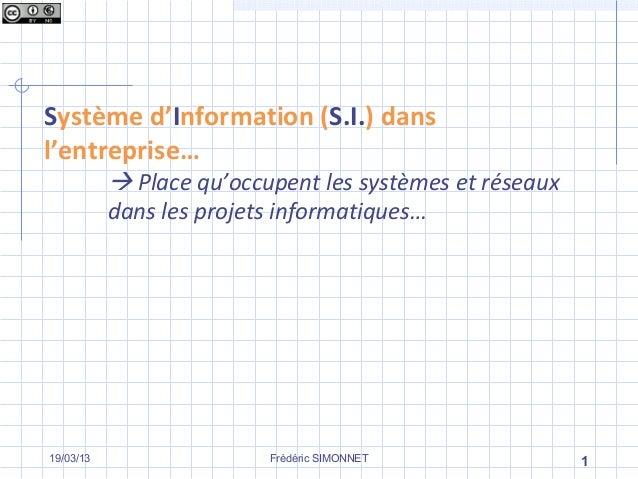 Système d'Information (S.I.) dansl'entreprise…            Place qu'occupent les systèmes et réseaux           dans les pr...