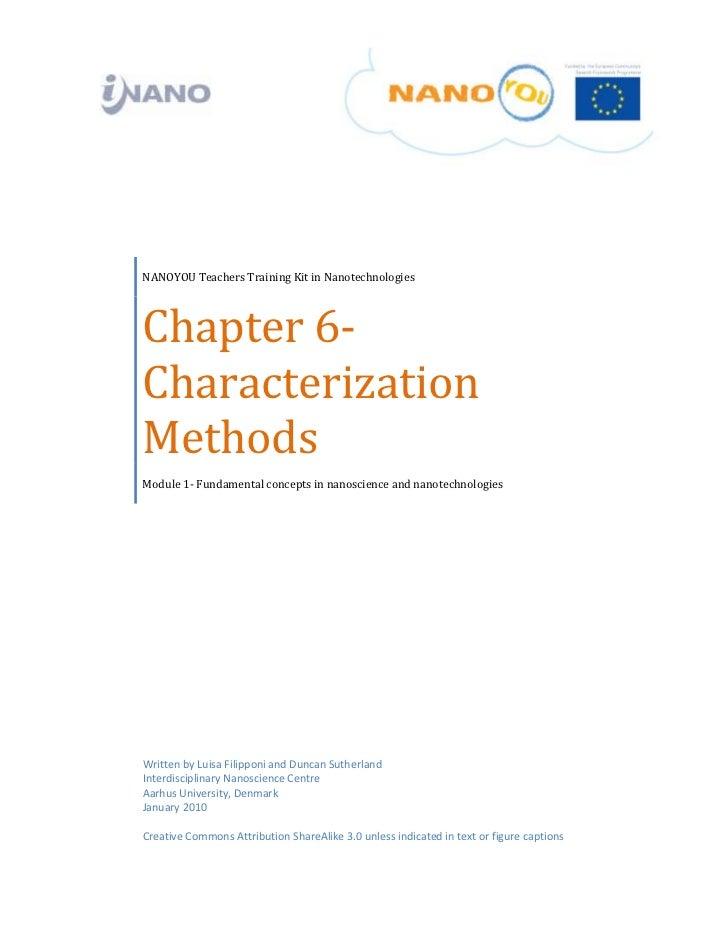 NANOYOUTeachersTrainingKitinNanotechnologies    Chapter6‐    Characterization    Metho...