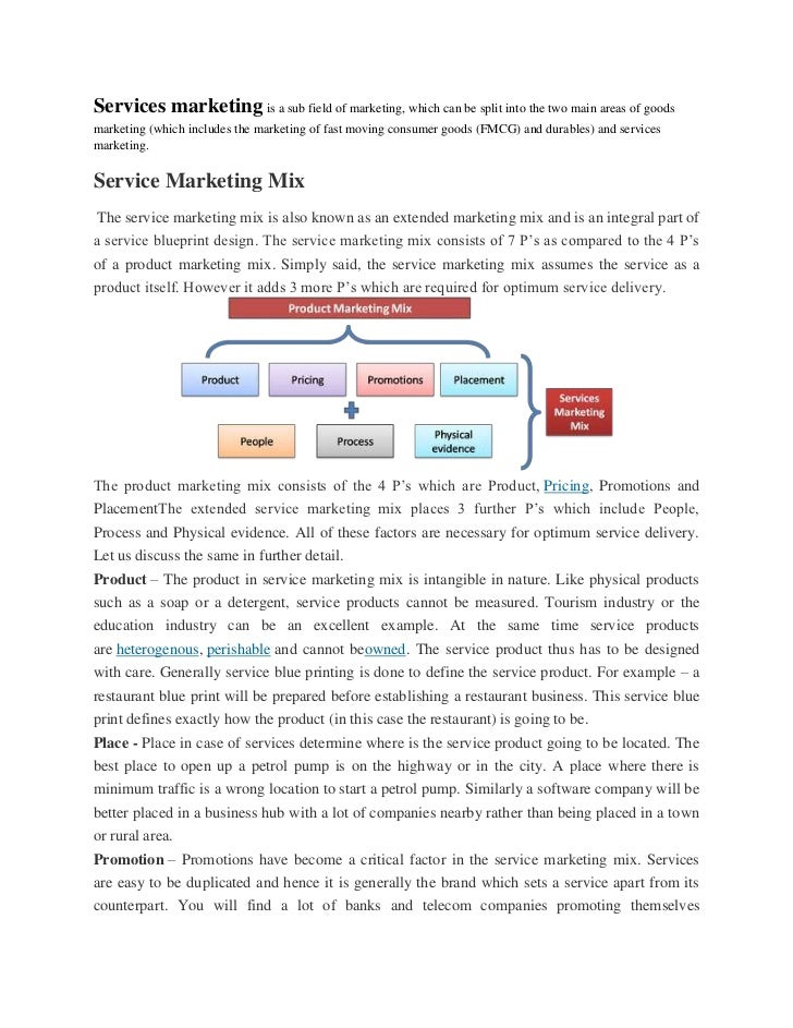 Services marketing is a sub field of marketing, which can be split into the two main areas of goodsmarketing (which includ...