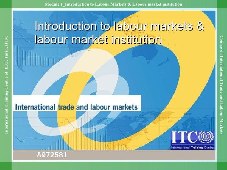 Introduction to labour markets & labour market institution
