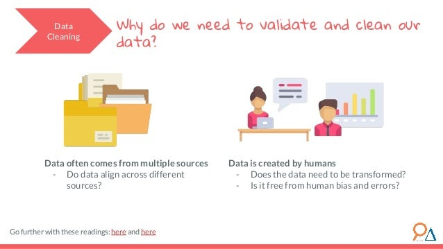 Data Cleaning Why do we need to validate and clean our data? Data often comes from multiple sources - Do data align across...