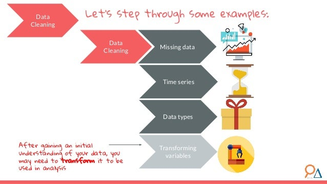 Let's step through some examples: Data Cleaning Missing data Time series Data types Data Cleaning Transforming variables A...