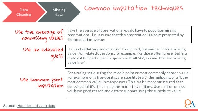 Data Cleaning Common imputation techniques Take the average of observations you do have to populate missing observations -...