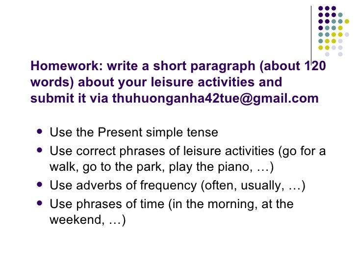 leisure activities paragraph