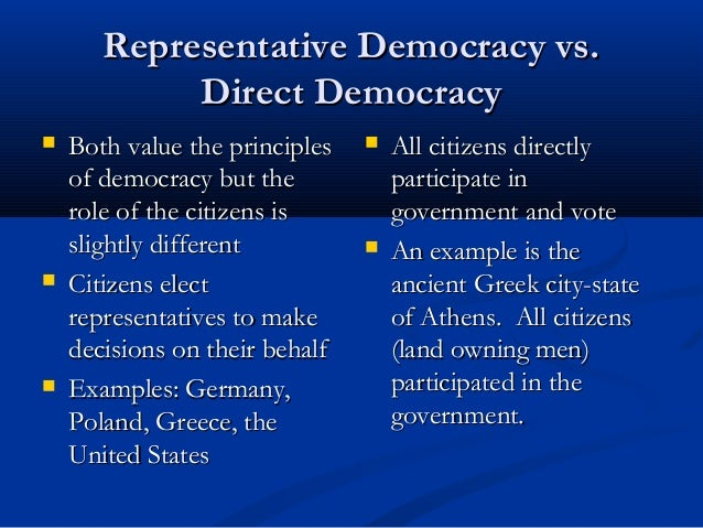 direct democracy vs representative democracy Key difference – direct vs representative democracy there are many different forms of governance being practiced in the countries of the world with.