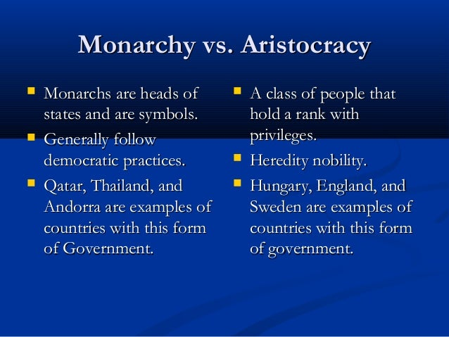 democracy vs monarchy In a monarchy, a king or queen is head of state the british monarchy is known  as a constitutional monarchy this means that, while the sovereign is head of.