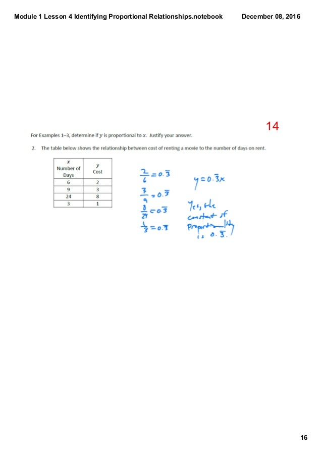 Module 1 Lesson 4 Identifying Proportional Relationships