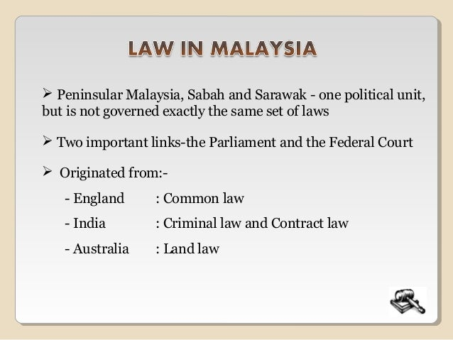 Malaysian legal system introduction to law