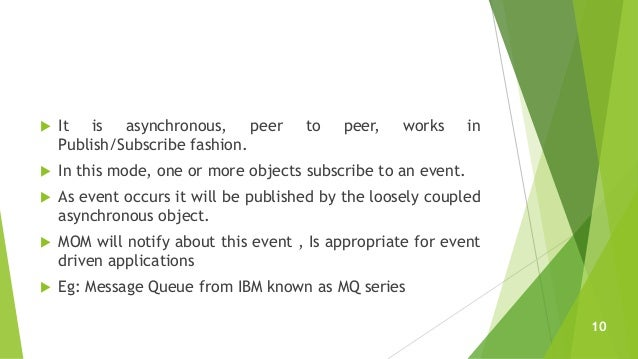  It is asynchronous, peer to peer, works in Publish/Subscribe fashion.  In this mode, one or more objects subscribe to a...