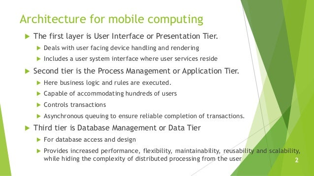 Architecture for mobile computing  The first layer is User Interface or Presentation Tier.  Deals with user facing devic...