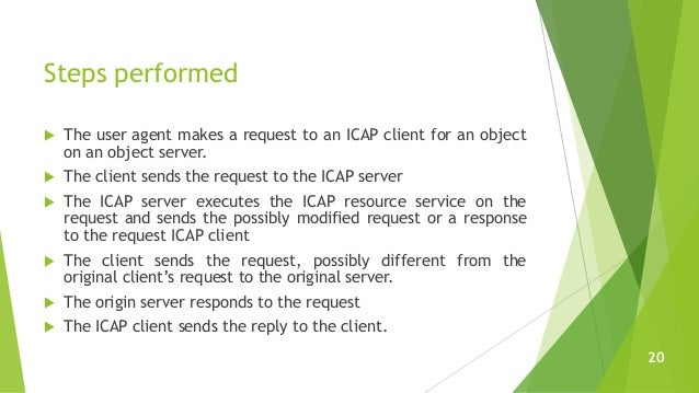 Steps performed  The user agent makes a request to an ICAP client for an object on an object server.  The client sends t...