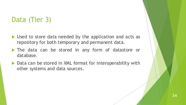 Data (Tier 3)  Used to store data needed by the application and acts as repository for both temporary and permanent data....
