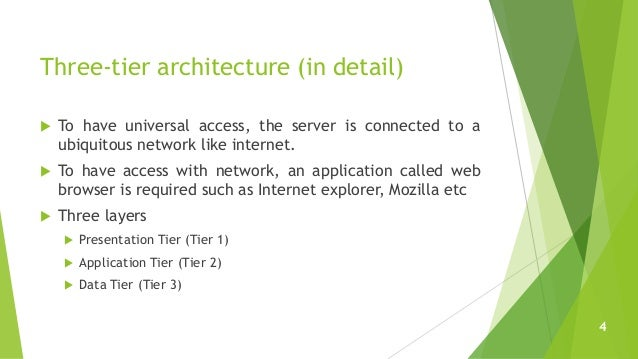 Three-tier architecture (in detail)  To have universal access, the server is connected to a ubiquitous network like inter...