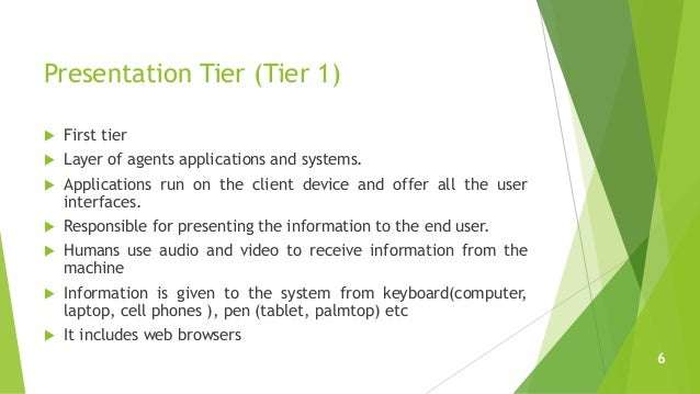 Presentation Tier (Tier 1)  First tier  Layer of agents applications and systems.  Applications run on the client devic...