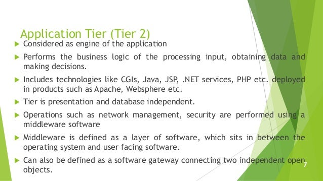 Application Tier (Tier 2)  Considered as engine of the application  Performs the business logic of the processing input,...