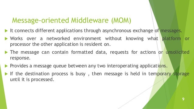 Message-oriented Middleware (MOM)  It connects different applications through asynchronous exchange of messages.  Works ...