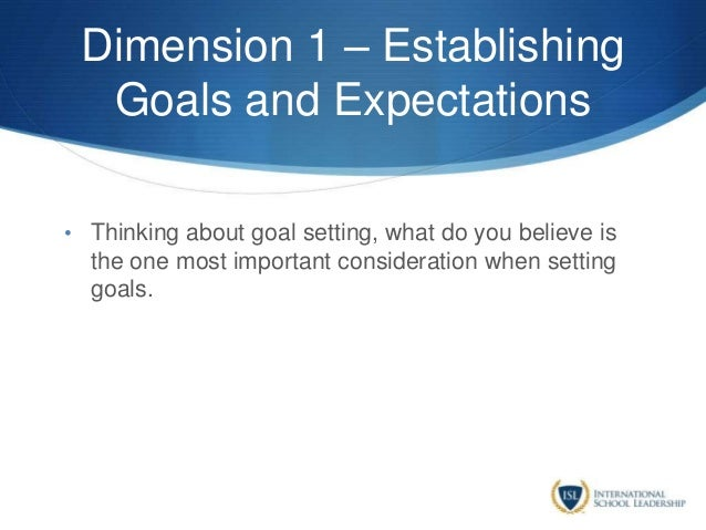 Dimension 1 – Establishing Goals and Expectations • Thinking about goal setting, what do you believe is the one most impor...