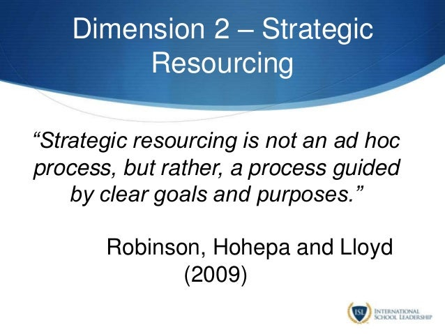 """Dimension 2 – Strategic Resourcing """"Strategic resourcing is not an ad hoc process, but rather, a process guided by clear g..."""